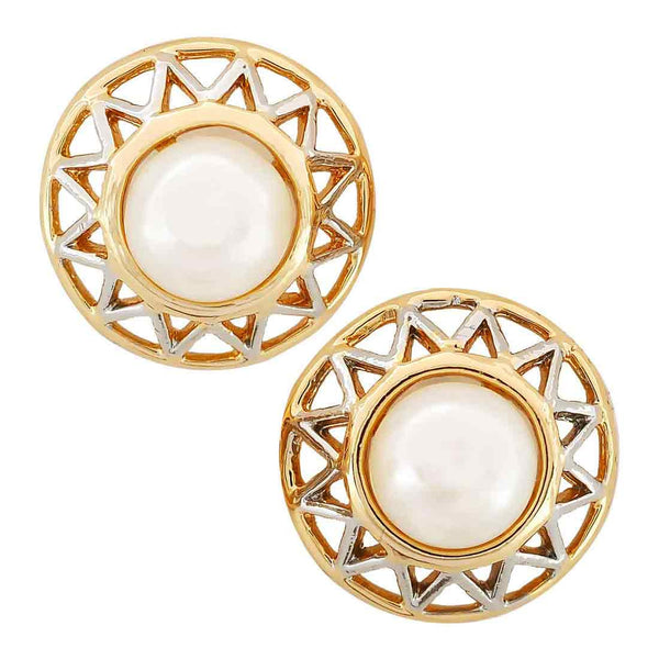 Posh White Gold Filigree Stud Earrings - MCHUJE11AG71