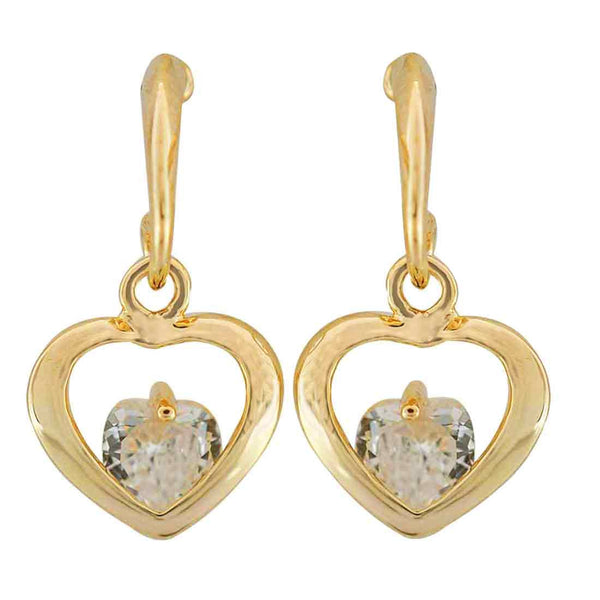 Sparkling Gold CZ American Diamond Drop Earrings - MCHUJE11AG141