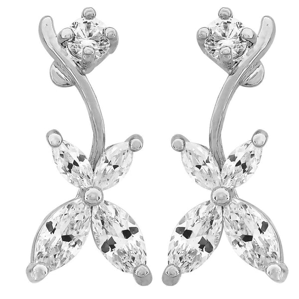 Exclusive Silver American Diamond Drop Earrings- MCHUJE20AG159