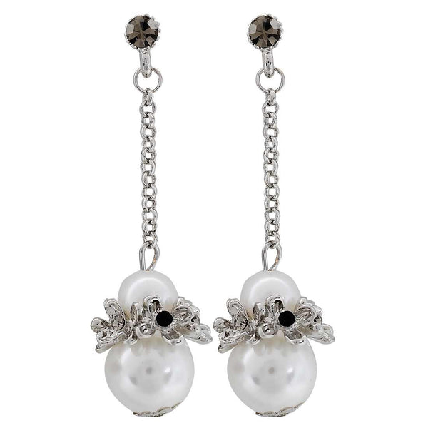 Plush White Silver Designer Drop Earrings- MCHUJE20AG196