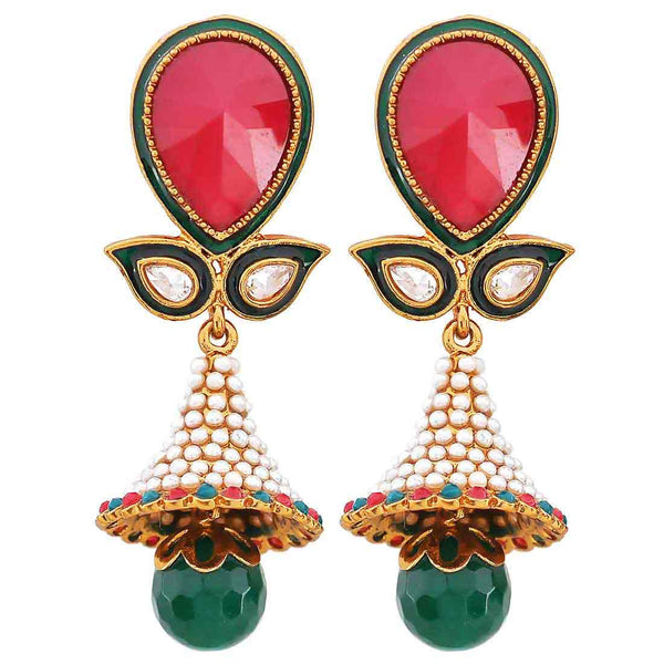 Posh Maroon Green Indian Ethnic Drop Earrings - MCHUJE20AG212