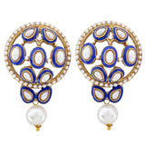 Simple Blue White Pearl Drop Earrings - MCHUJE20AG230
