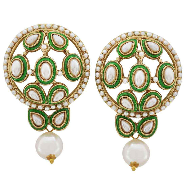 Sober Green White Pearl Drop Earrings - MCHUJE20AG231