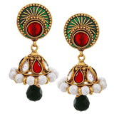 Plush Multicolour Gold Indian Ethnic Drop Earrings - MCHUJE20AG237