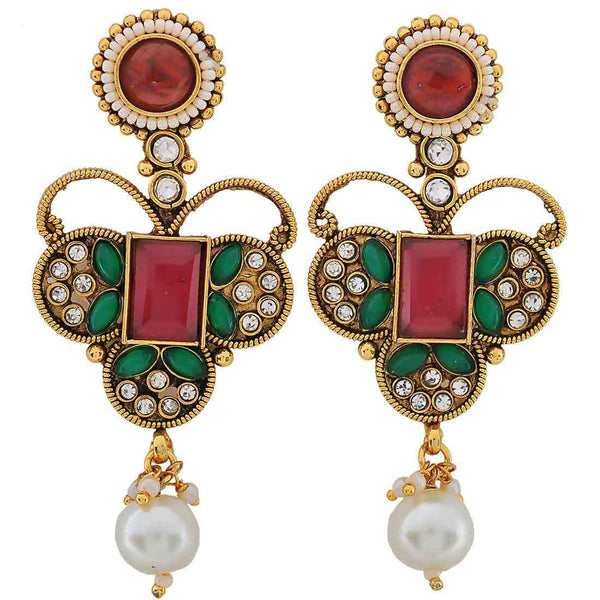 Fantastic Maroon Green Indian Ethnic Drop Earrings - MCHUJE20AG243