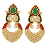 Sparkling Multicolour Gold Pearl Drop Earrings - MCHUJE20AG254
