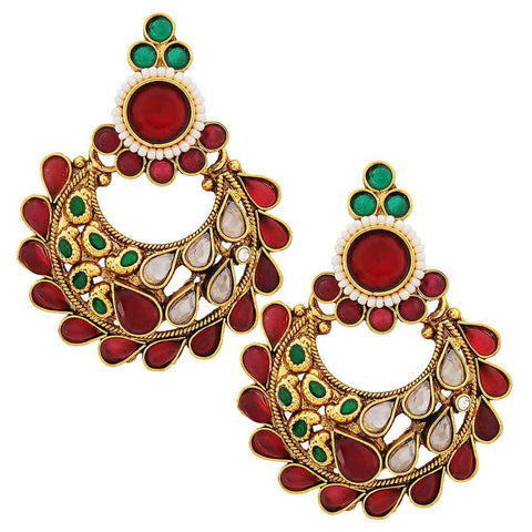 Artistic Wine Green Kundan Chand Bali Earrings - MCHUJE20AG260