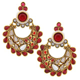 Grand Wine White Crystal Work Chand Bali Earrings - MCHUJE20AG263