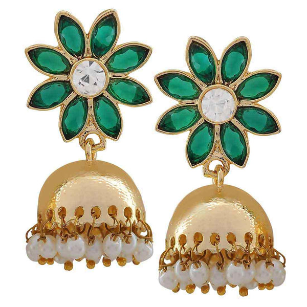 Sexy Green Gold Crystal Work Jhumki Earrings - MCHUJE20AG273