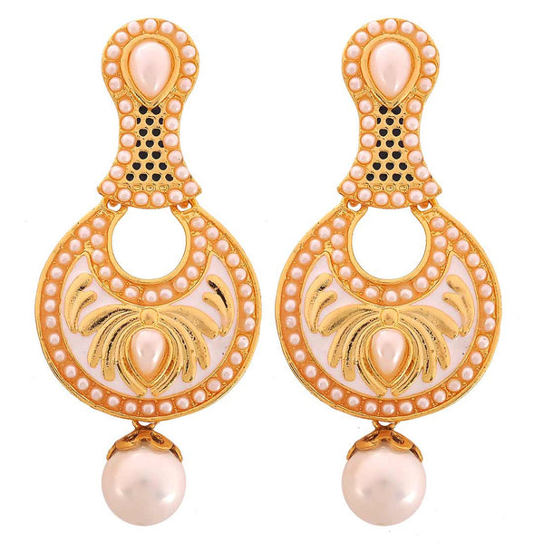 Indian Bollywood Jewelry Class Pearl Drop Earrings White Gold by  - MCHUJE9SP44