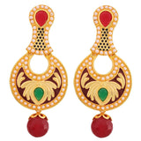 Bollywood Indian Jewelry Graceful Pearl Drop Earrings Maroon Green  - MCHUJE9SP62