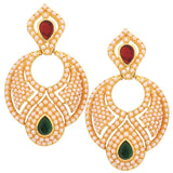 Indian Fashion Jewelry Lovely Pearl Drop Earrings Maroon Green by  - MCHUJE9SP65