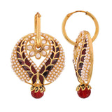 Ethnic Jewelry Exquisite Ethnic Hoop Earrings Maroon White by  - MCHUJE9SP68