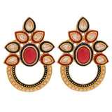 Indian Ethnic Jewelry Plush Kundan Drop Earrings Blue Red by  - MCHUJE9SP81