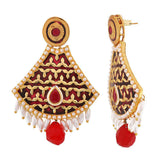 Bollywood Indian Jewels Sober Meenakari Drop Earrings Maroon White  - MCHUJE9SP87