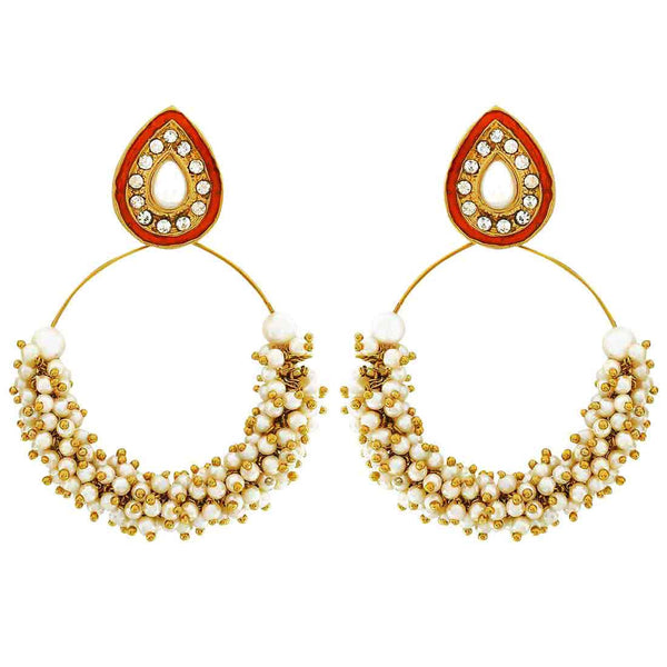 Indian Antique Jewelry Chic Pearl Drop Earrings White Orange by  - MCHUJE9SP170