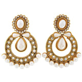 Indian Art Jewelry Simple Pearl Drop Earrings White Gold by  - MCHUJE9SP177
