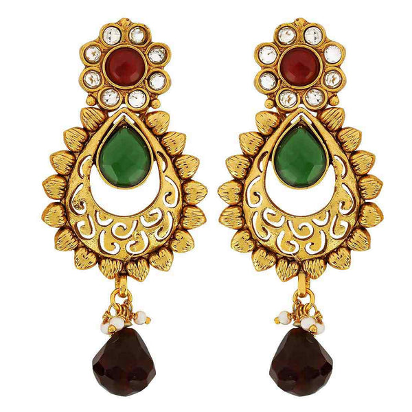 Indian Traditional Jewels Lovable Crystal Drop Earrings Maroon  - MCHUJE9SP180