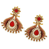 Indian Wedding Jewelry Darling Ethnic Drop Earrings Red Gold by  - MCHUJE9SP181