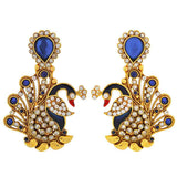 Indian Antique Jewelry Sensual Crystal Drop Earrings Blue Gold by  - MCHUJE9SP183