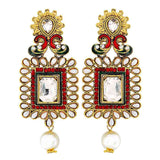 Bollywood Indian Jewels Terrific Ethnic Drop Earrings Green Maroon  - MCHUJE9SP188