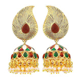 Indian Antique Jewelry Stunning Meenakari Drop Earrings Multicolor  - MCHUJE9SP232