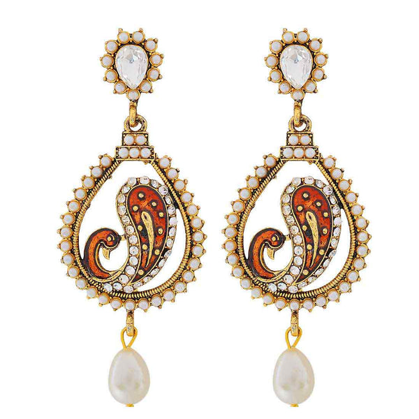 Designer Indian Jewelry Exclusive Pearl Drop Earrings Brown White  - MCHUJE9SP240