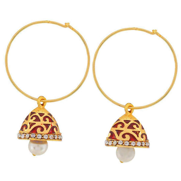 Bollywood Indian Jewels Special Meena Dangler Earrings Wine White  - MCHUJE9SP308