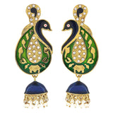 Ethnic Jewelry Adorable Meenakari Drop Earrings Green White by  - MCHUJE9SP314