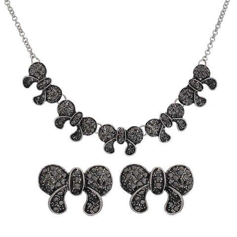 Multiple Bows Black Silver Oxidised Party Pendant Set with Earrings - MCHUJP3DC85