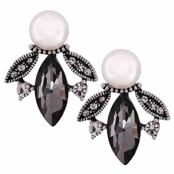 Charming Black White Indian Ethnic Drop Earrings - MCHUJE27OT353
