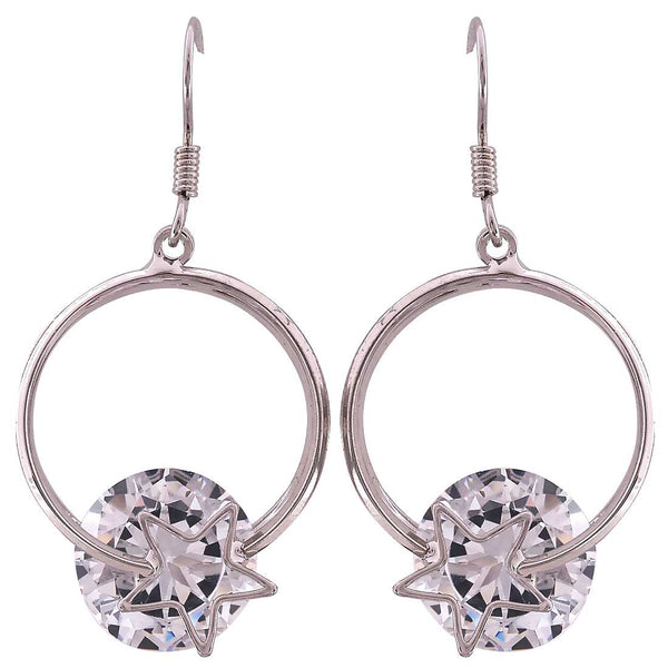 Cool Silver American Diamond Dangler Earrings - MCHUJE27OT366