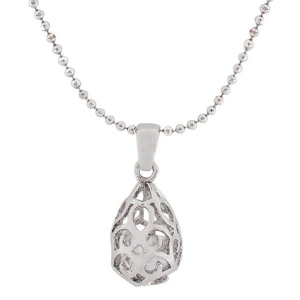 Trendy Silver Filigree Pendant without Earrings - MCHUJP27OT405