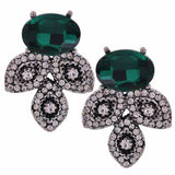 Lovable Green Silver Stone Work Drop Earrings - MCHUJE27OT418