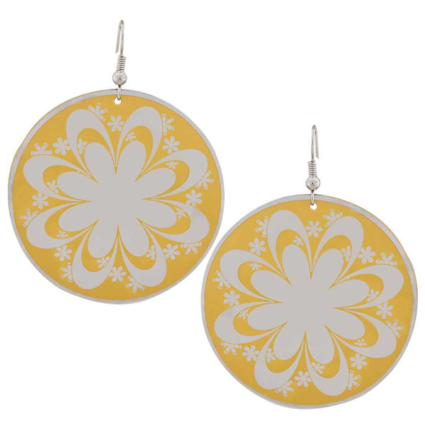 Sober White Yellow Designer Dangler Earrings - MCHUJE27OT462