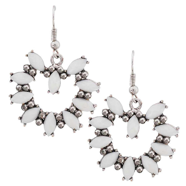 Hot White Silver Oxidised Dangler Earrings - MCHUJE27OT503