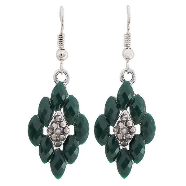 Charming Green Silver Oxidised Dangler Earrings - MCHUJE27OT548