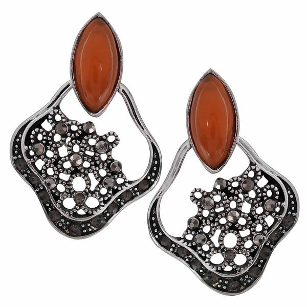 Charming Orange Silver Oxidised Chand Bali Earrings - MCHUJE27OT588