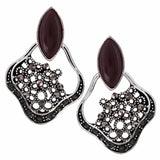 Charming Brown Silver Oxidised Chand Bali Earrings - MCHUJE27OT602
