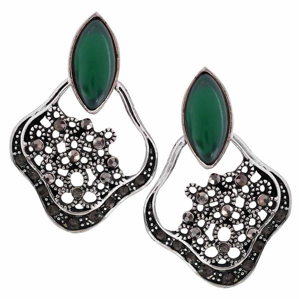 Exclusive Green Silver Oxidised Chand Bali Earrings - MCHUJE27OT613