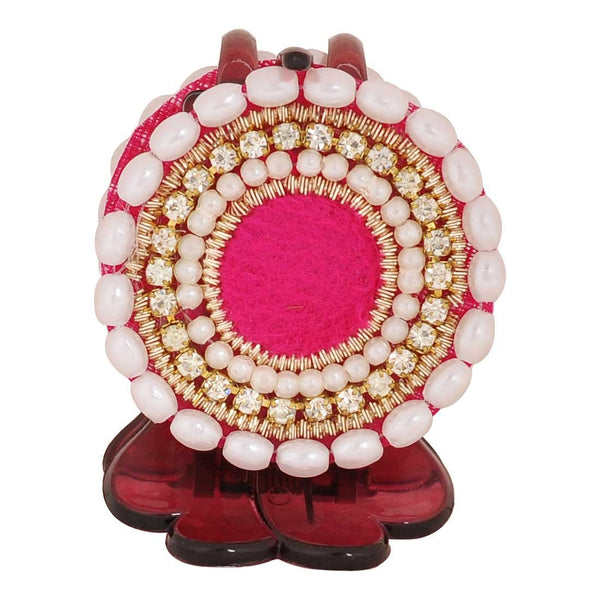 Lovely Pink White Designer College Hair Clutcher - MCHUJH27FB4