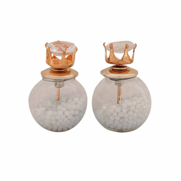 Amazing White Designer Get-together Glass Stud Earring - MCHUJE26FB18