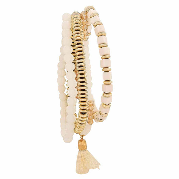 Cool Gold White Trending Adjustable Reunion Size Bracelet - MCHUJB28AP72