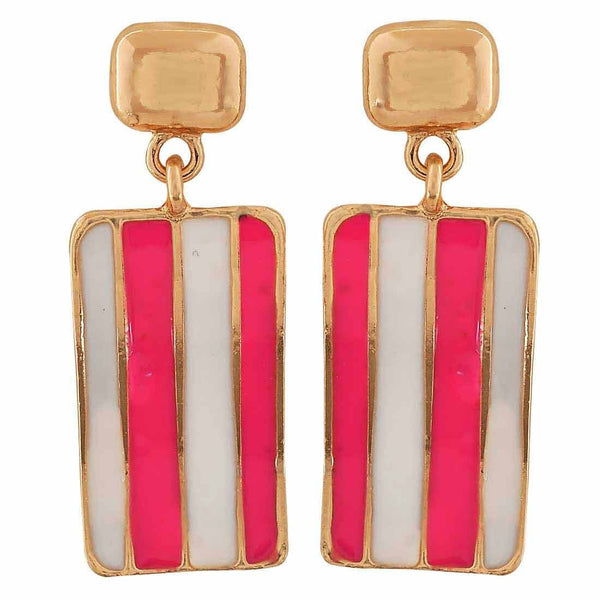 Sexy Pink White Designer College Drop Earrings - MCHUJE26FB30