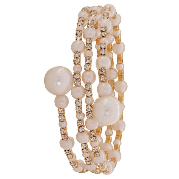 Fab White Pearl Adjustable Cocktail Size Bracelet - MCHUJB28AP208