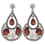 Posh Wine White Indian Ethnic Cocktail Drop Earrings - MCHUJE26FB57