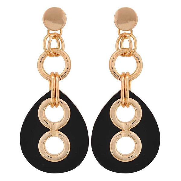 Charming Black Gold Designer Party Drop Earrings - MCHUJE26FB66