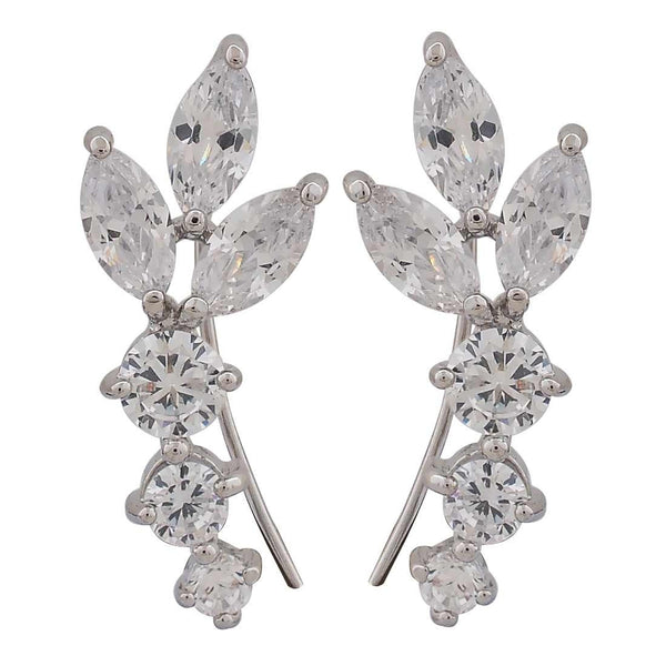 Simple Silver Stone Crystals Cocktail Cuff Earrings - MCHUJE26FB127
