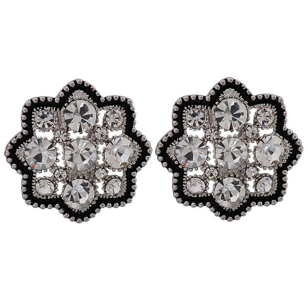 Stylish Black Stone Crystals Cocktail Clip On Earrings - MCHUJE26FB152
