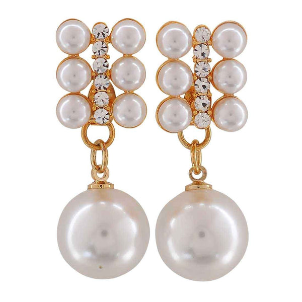 Graceful White Pearl College Drop Earrings - MCHUJE26FB155